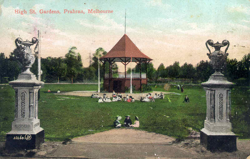 This view taken from the High Street entrance of the 1888 urns and 1901 rotunda is undated but is postmarked 1907 and believed to have been taken about 1905.  The photograph was reproduced in the Prahran Annual Report 1912-13.  The rotunda was removed in the 1950s and the existing urns are copies of the originals that had been vandalised.