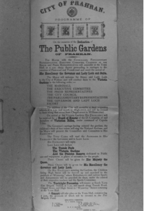 Poster announcing the opening of the three public gardens in Prahran